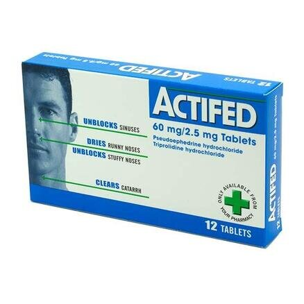 Actifed Multi-Action Tablets - 12 Tablets