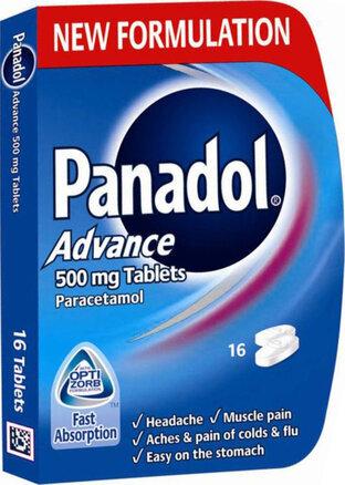 Panadol Paracetamol Tablets Pain Relief 500mg Advance 16s