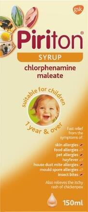 Piriton Antihistamine Allergy Relief Syrup Chlorphenamine 150ml