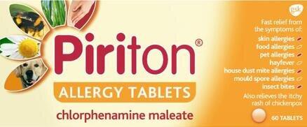 Piriton Antihistamine Allergy Relief Tablets Chlorphenamine